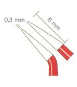 バイポーラフォーセプス NON-STICK red アングル(マーチン) 先端0.3mm、8mm