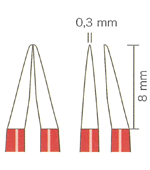 バイポーラフォーセプス NON-STICK red バヨネット(マーチン) 先端0.3mm、8mm
