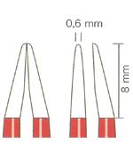 バイポーラフォーセプス NON-STICK red バヨネット(マーチン) 先端0.6mm、8mm